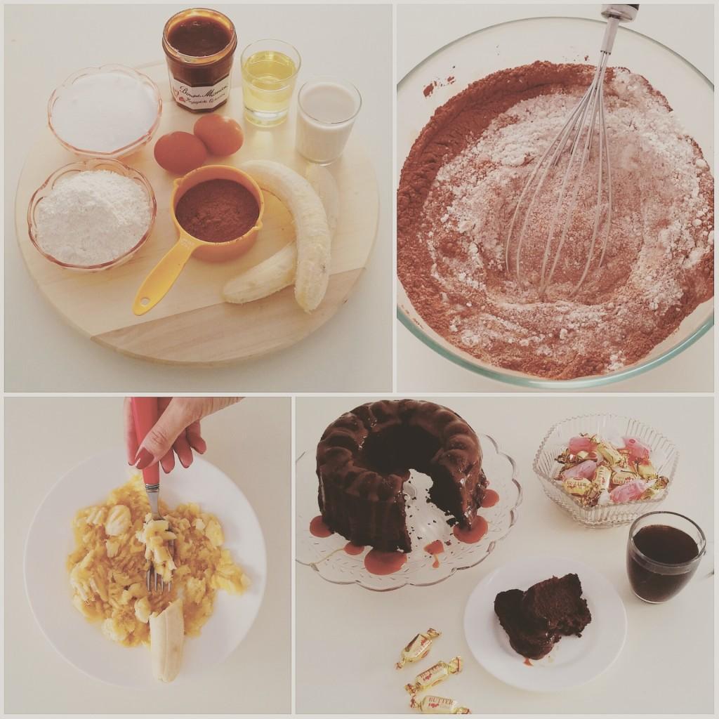Σοκολατένιο μπανανοκέηκ με επικάλυψη καραμέλας